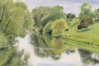 OL126 'River Tees at Hurworth' oil on canvas 11 x 19 cm 1995 (Private collection)