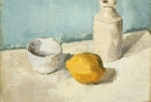 OSL023 'Stone pots and lemon' oil on canvas 15 x 18 cm 1983 (exhibited RA Summer Exhibition).
