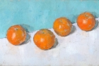 OSL026 'Oranges on white and blue' oil on canvas 18 x 30 cm 1983