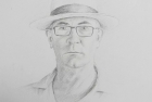 2 'Self Portrait in Panama Hat' pencil 60 x 40 cm 2017