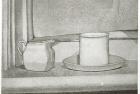 27 E08 ' Window sill' etching and aquatint, plate 14 x 15 cm 1984