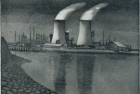 19 E25 'River Tees at Middlesbrough' etching and aquatint, plate 18 x 21 cm 1988