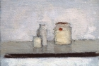 OSL015 'Grey still life II' oil on canvas 10 x 16 cm 1980 (Private collection)