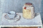 OSL021 'Mustard jar still life I' oil on canvas 13 x 15 cm 1983 (Private collection)