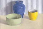 OSL083 'Green, blue and yellow still life' oil on canvas 20 x 22 cm 1994