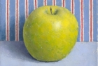 OSL110 'Green apple on grey with stripe' oil on canvas 12 x 15cm 1997